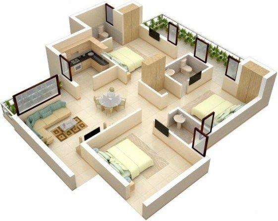 Gambar Denah Rumah Minimalis 3 Kamar Tidur 25