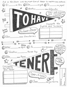 Tener Spanish verb worksheet & poster ~No prep Instant