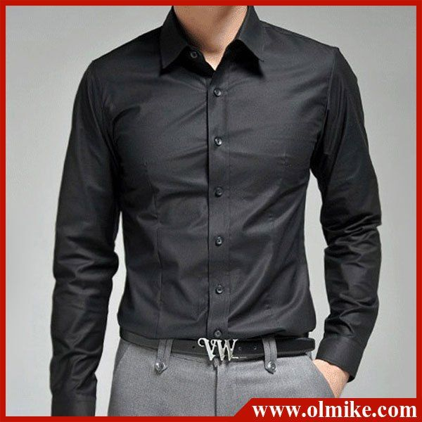 Men&-39-s new business shirt casual wear dress shirts man&-39-s pure long ...
