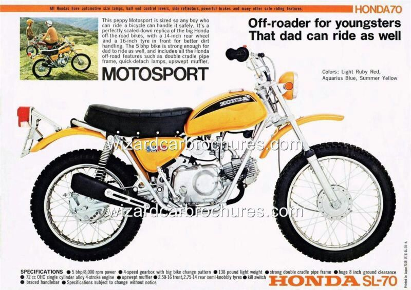 HONDA SL70 Motosport Minicycle I got one of these in 8th grade ...