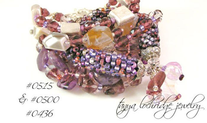 Tanya Lochridge Jewelry Vintage Hearts Stackable Bangle stacked with an amethyst bracelet & a purple banded agate beauty from my collection. #tanyalochridgejewelry