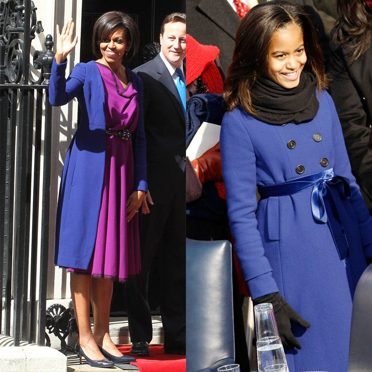 Pin for Later: 13 Photos That Prove Malia Obama Is Slowly Morphing Into Michelle When They Went With This Jewel Tone For Their Outerwear