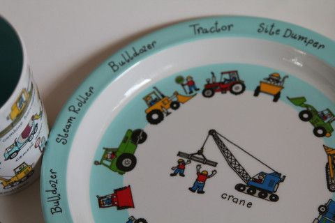 Made from durable melamine, these plates are great for the lover of trucks, diggers and cranes. Matching cups and bowls are also available.