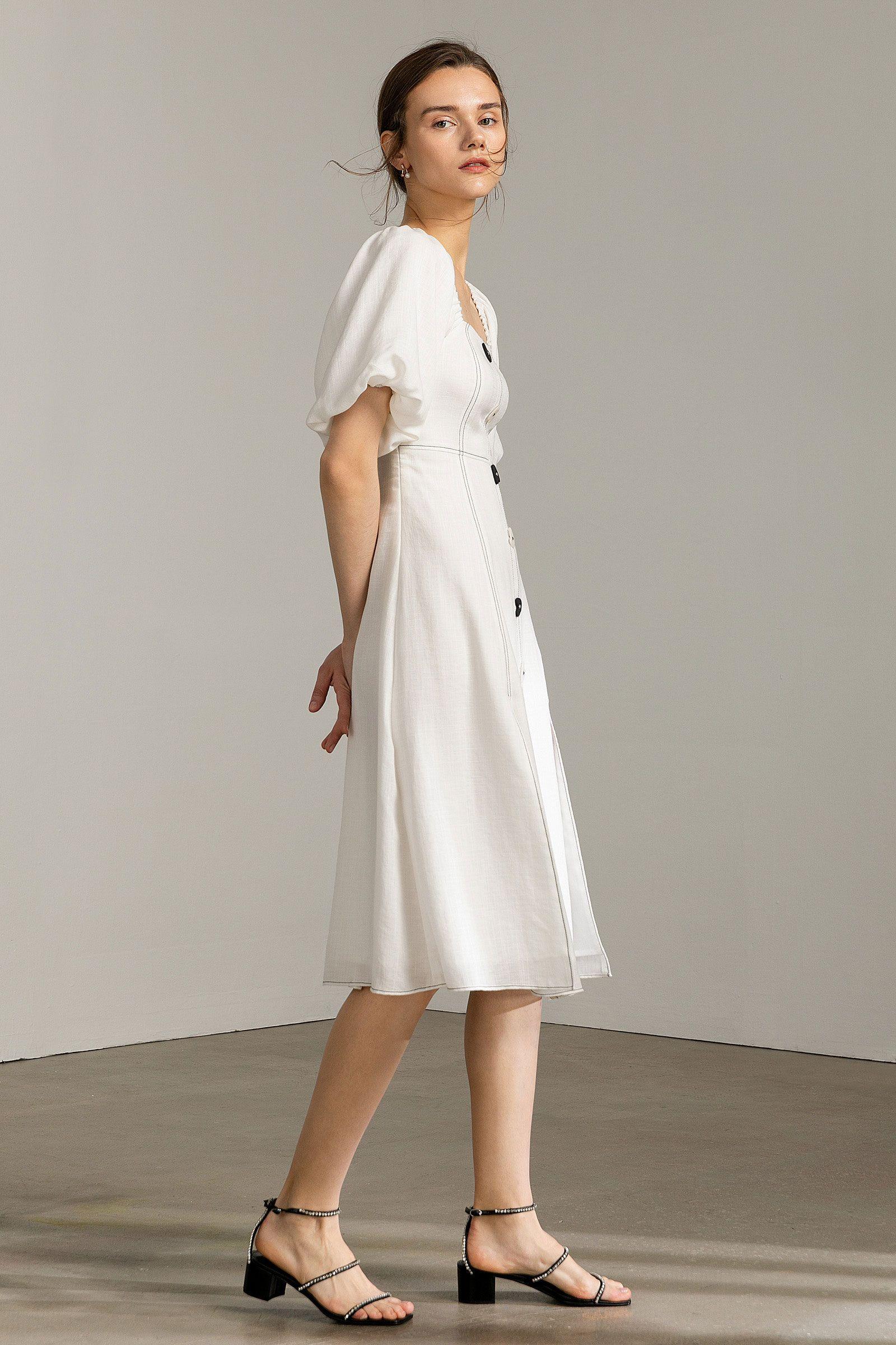 Kendra white lantern sleeve midi dress in 2020 midi