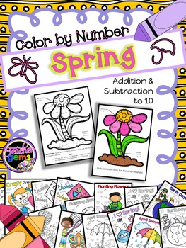 Color by Number Addition and Subtraction to 10 Spring