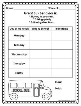 Bus Rules And Behavior Chart  TeacherspayteachersCom  Sam