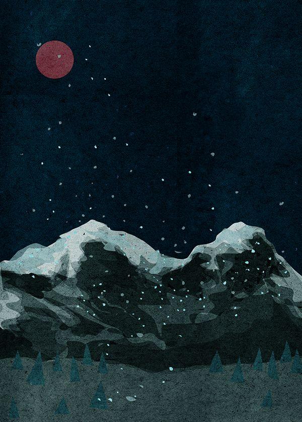 Https Www Behance Net Gallery 34067262 Night Dark Landscape Night Illustration Night Landscape
