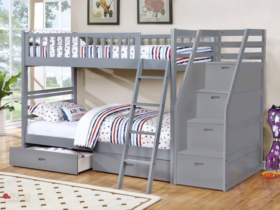 Fraser Grey Twin Over Twin Bunk Bed With Stairway Chest And Storage Drawers Bunk Beds With Storage Twin Bunk Beds Bunk Bed Designs