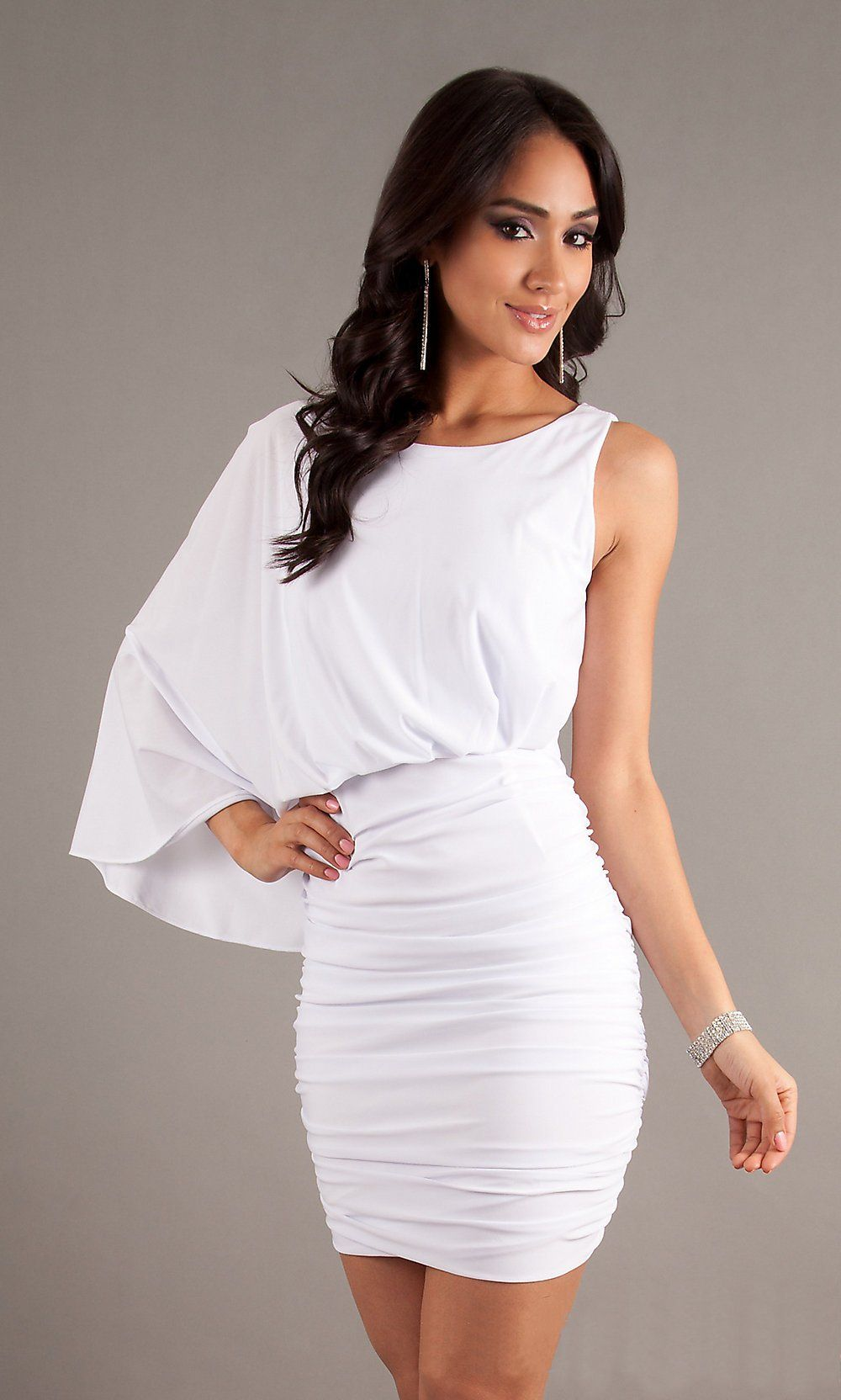 Short Form Fitting White Cocktail Dress One Shoulder Sleeve $78.99 ...