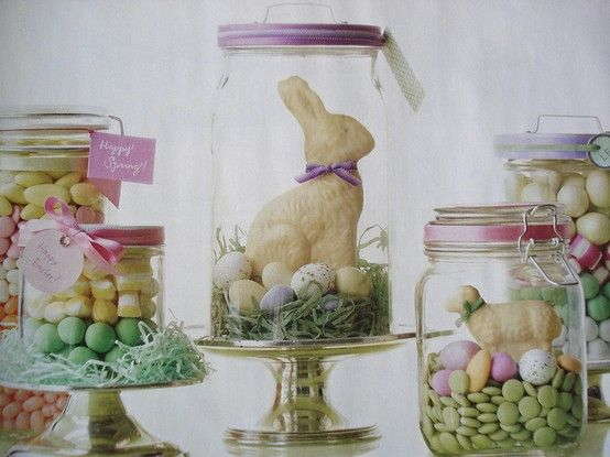 I did these two years ago for Easter gifts.  Lots of candy, some Easter grass and ribbon, and I even found cute fluffy fake chicks  - they were a hit!