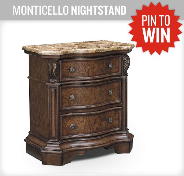A Beautiful Nightstand Matching The Monticello Bedroom Set. #NewASF  #PinItToWinIt
