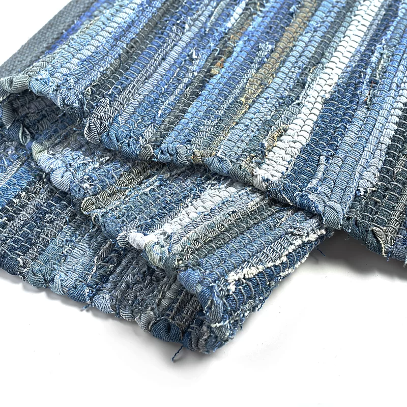 Ebern Designs Denim Rag Rug Washable Cotton Hand Woven Reversible Blue Striped Recycled Throw Entry In 2021 Rugs