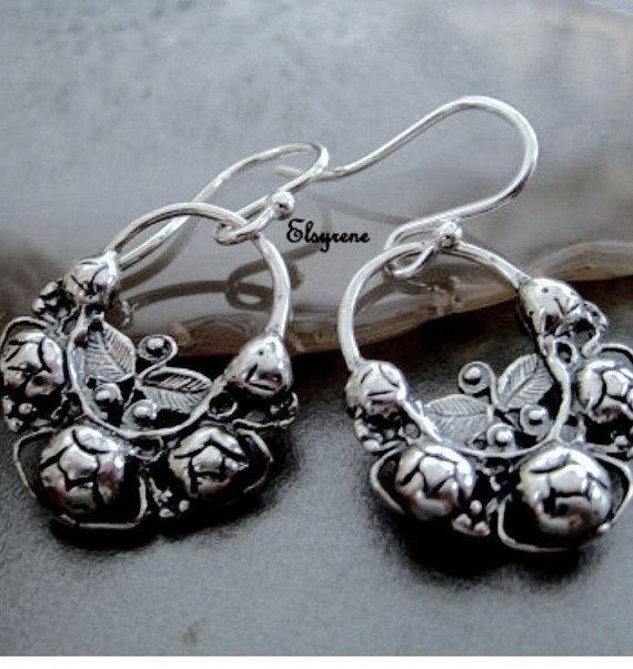 Frida Khalo Style Earrings Jewelry Mandala Silver Mexican Arracadas Hoops Oxidized Straberryl