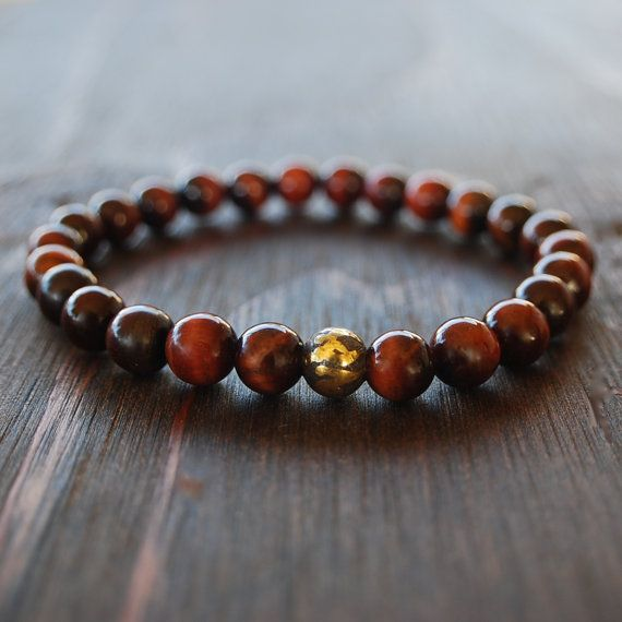 Red Tiger Eye Bracelet With Magnetic Hemae Bead Mens Beaded Mala Yoga Lotus Lava