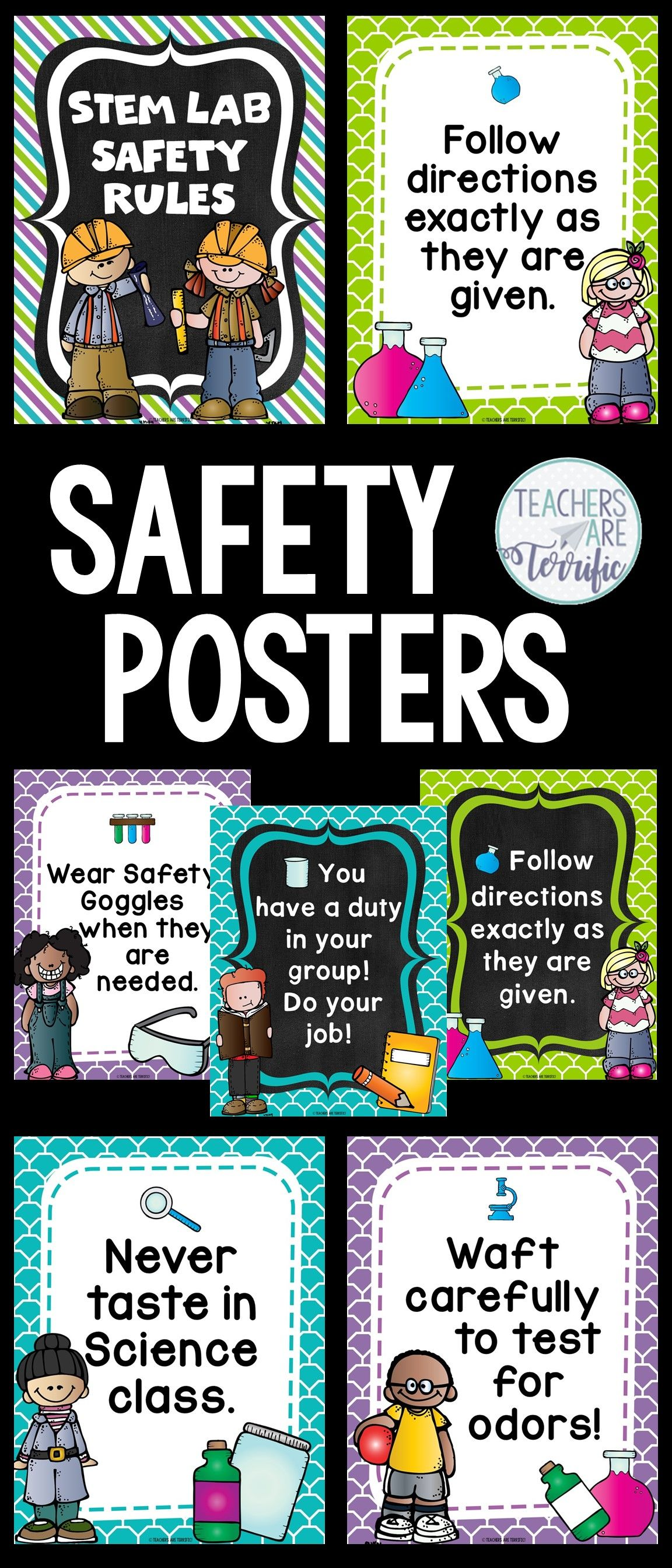 Science Safety Rules Posters In Purple Lime And Teal
