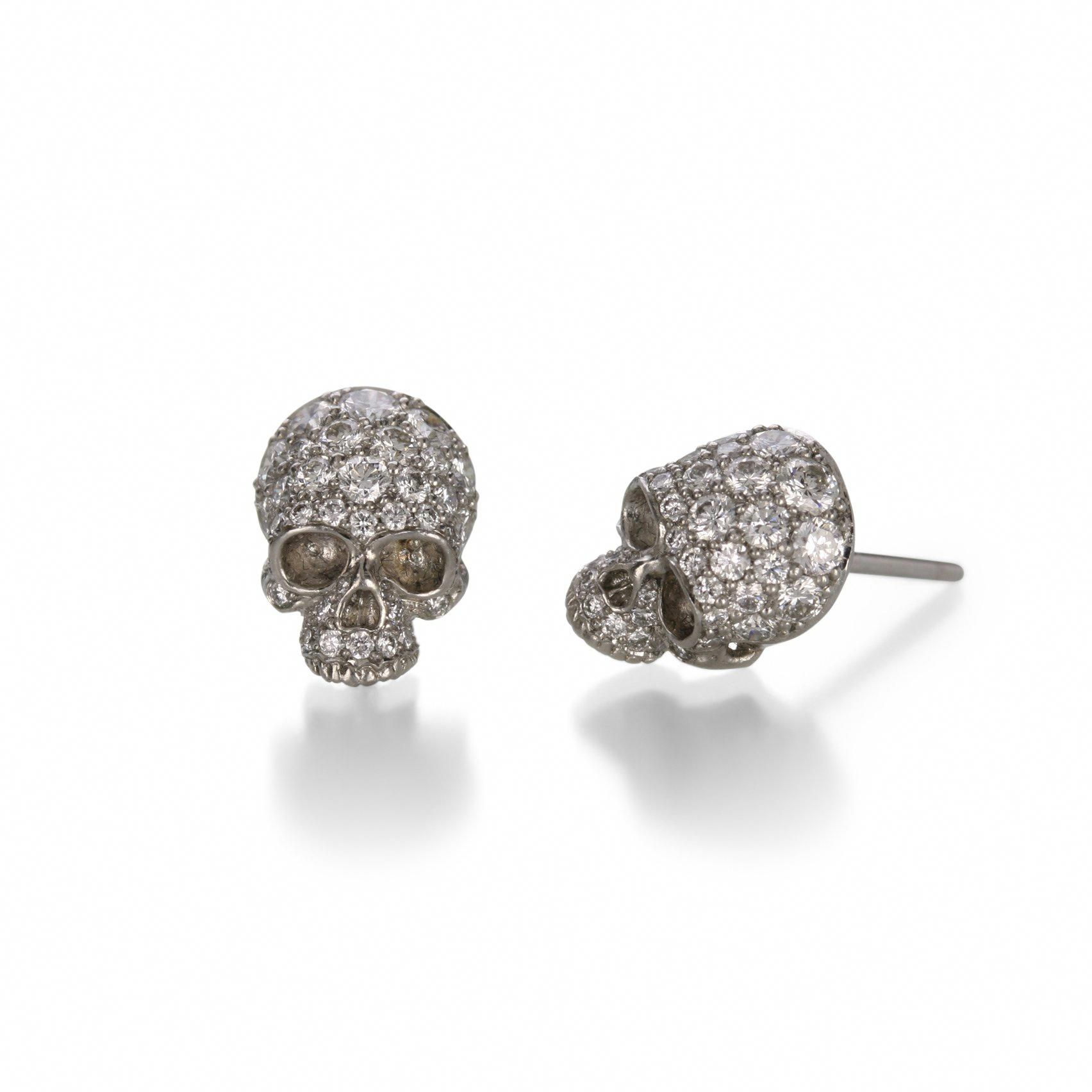 Pave Diamond Skull Stud Earrings Diamondstudearrings Diamondstufearrings