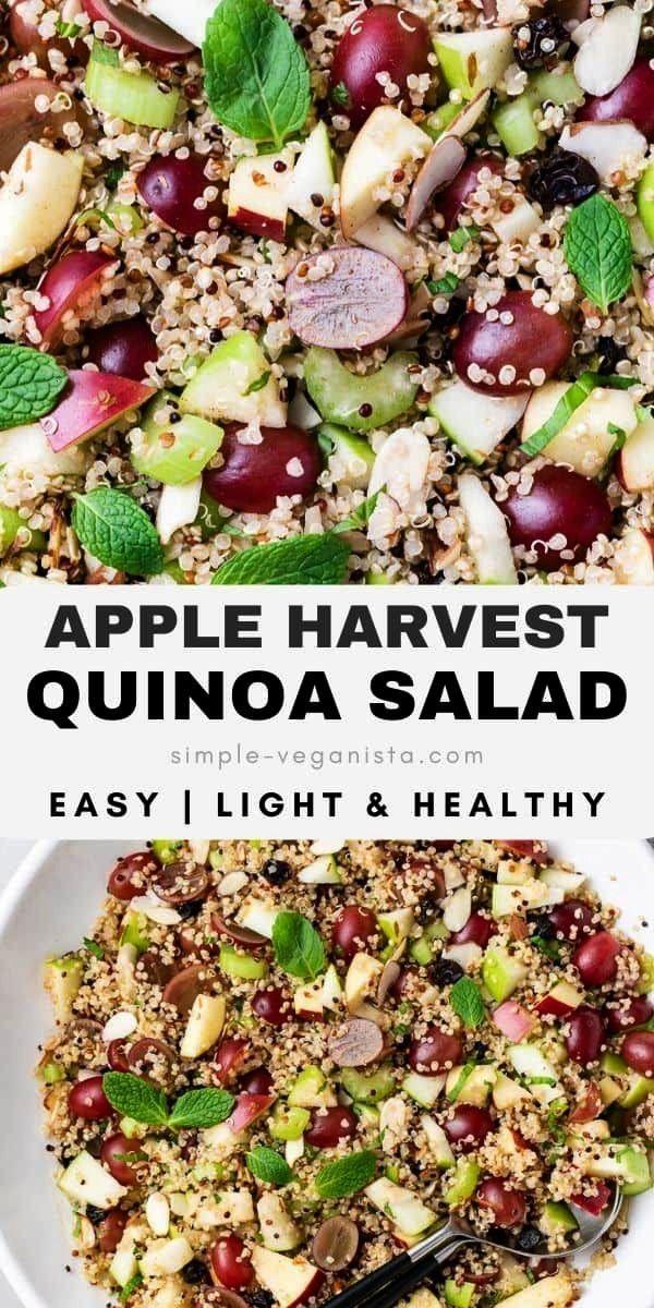 Quinoa Salad + Tahini Maple Dressing - The Simple Veganista -   -Apple Quinoa Salad + Tahini Maple