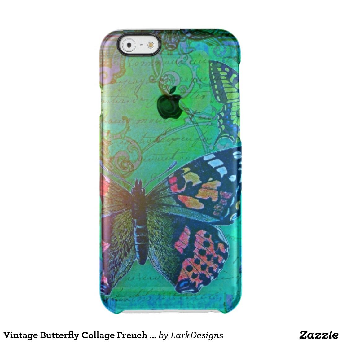 Vintage Butterfly Collage French Script Decorative Clear iPhone 6/6S Case