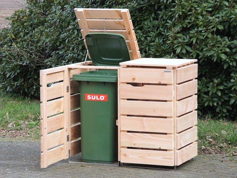 2er mülltonnenbox aus holz, natur | 2er mülltonnenbox,