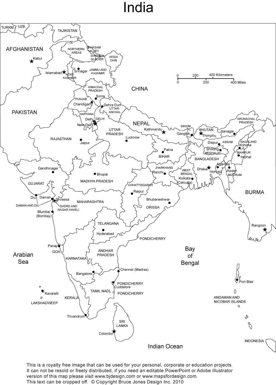 India printable, blank map, New Delhi,, royalty free