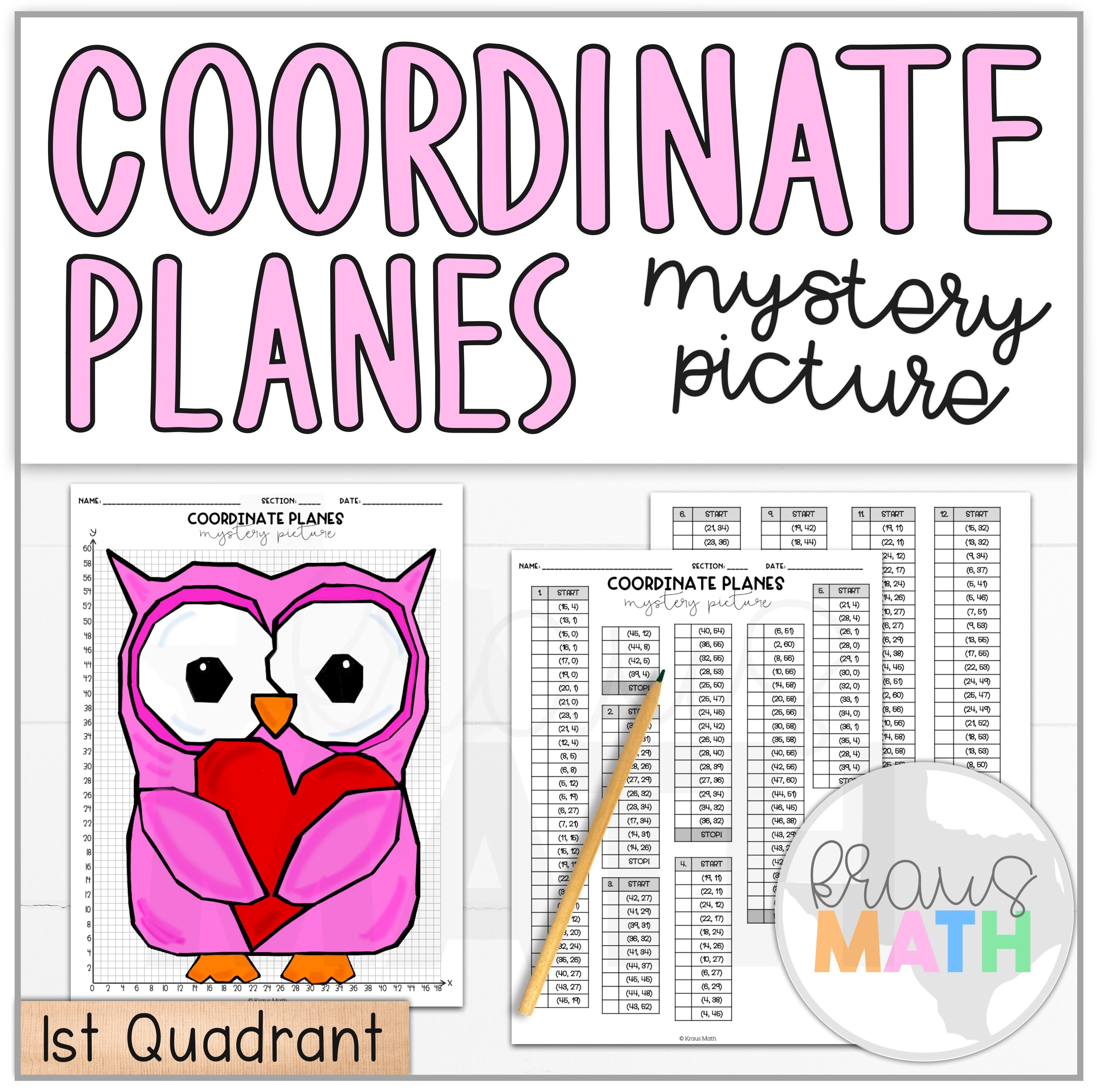 Valentine S Day Owl Coordinate Plane Activity 1st
