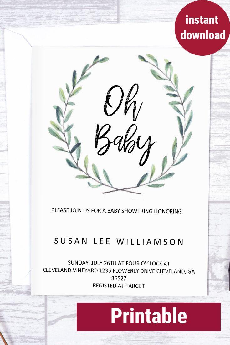 oh baby- baby shower invitation- baby shower invites- printable baby ...