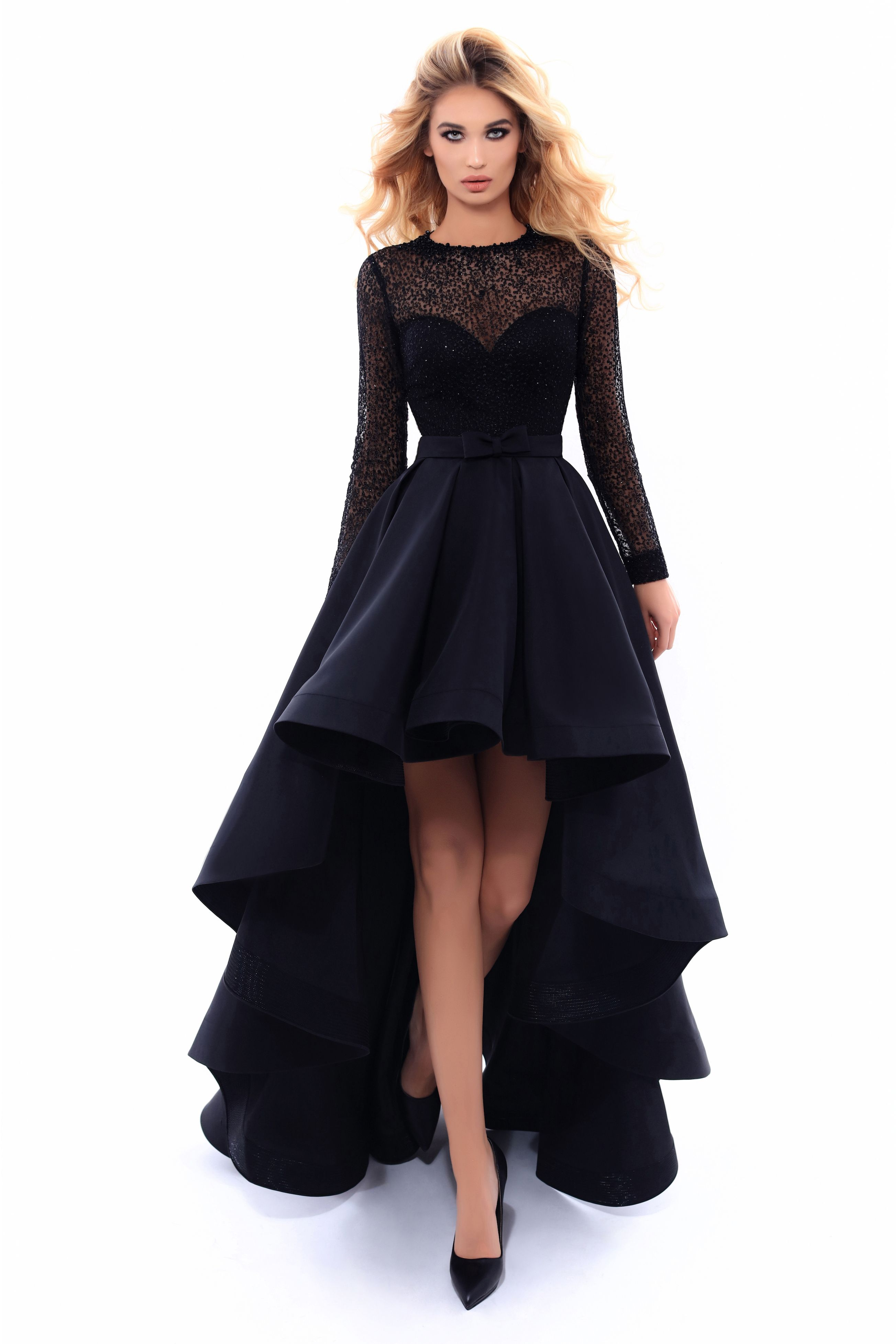 Tarik Ediz Miracle Collection 2017 Fall Winter Style 93309 High Low Black Evening Gown With Long Sleeves Also Ava Dresses Tarik Ediz Dresses Evening Dresses [ 3910 x 2607 Pixel ]