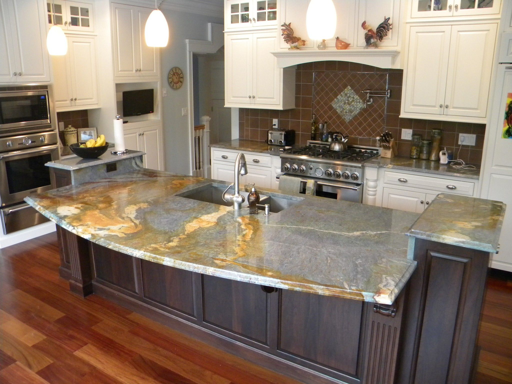 Waterfall countertop granite countertops marble White kitchen cabinets with granite countertops photos