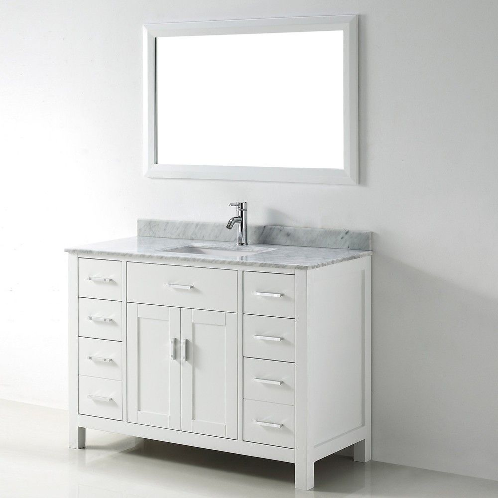 Chloe 48 Inch White Carrera Single Sink Vanity Set Overstock Com Shopping The Best Deals On