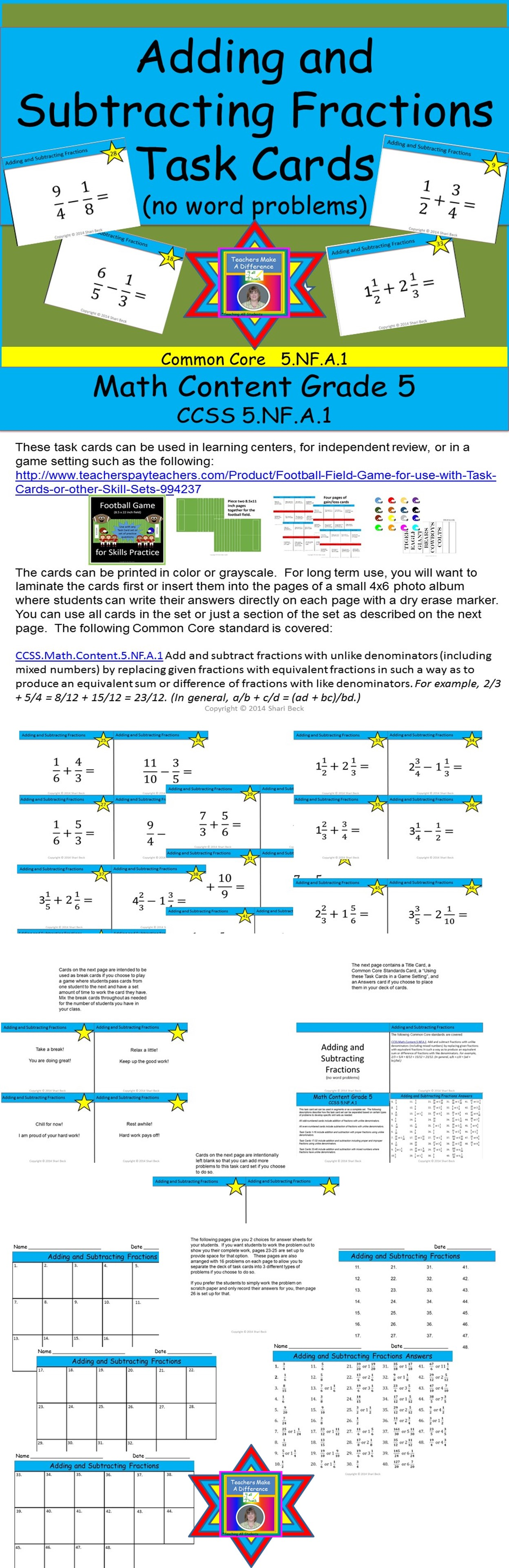 Adding And Subtracting Fractions Task Cards Addition And