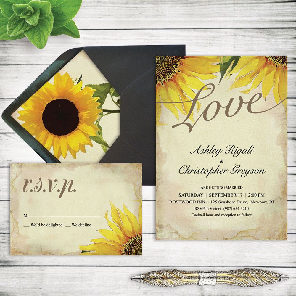 Rustic Sunflower Wedding Invitation Set Printable