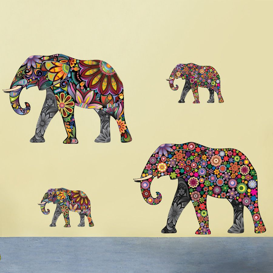 Elephant Flower Pattern Wall Sticker Removable Decal Home Decor ...