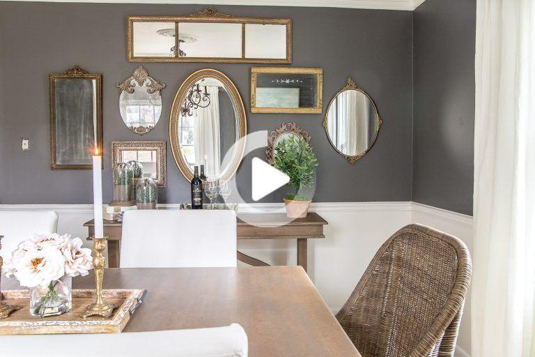 Galerie Miroir Mural De Thrifted Cadres In 2020 Wohnzimmer Spiegel Speisezimmereinrichtung Esszimmer Wanddekoration