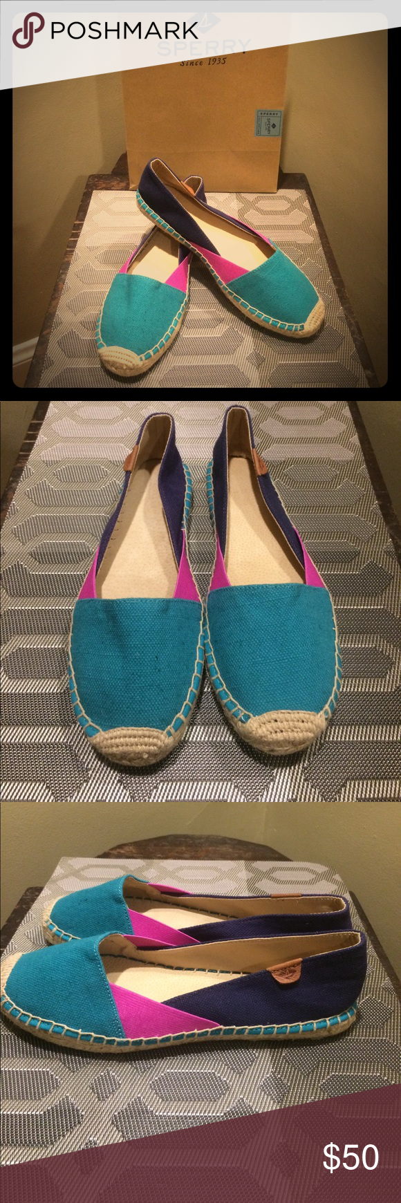 Sperry espadrilles! Multicolor espadrille slip ons from Sperry! New, never worn size 9. Colors are turquoise, magenta, and navy/dark purple! So cute for summer! Sperry Shoes
