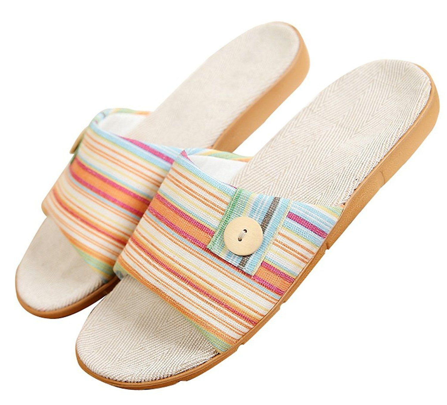 Blubi Women s Summer Button Flax House Slippers Comfortable Ladies Slippers  Open Toe Slippers    Click. Blubi Women s Summer Button Flax House Slippers Comfortable Ladies