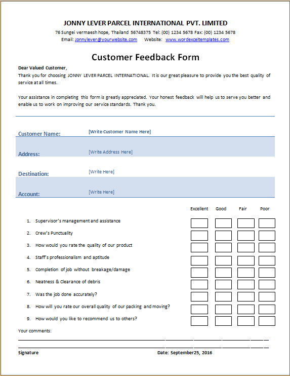 customer feedback form templates 13 free xlsx docs pdf samples