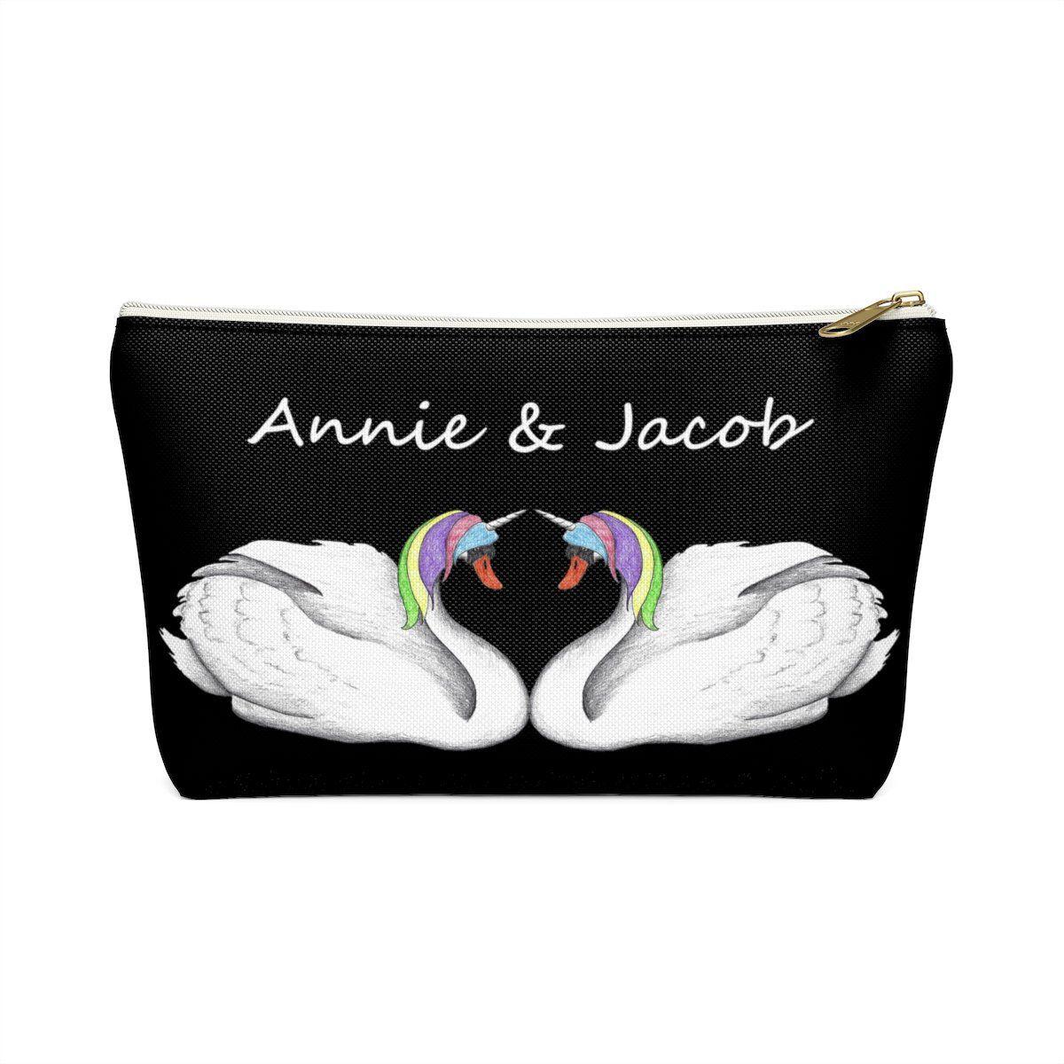 Personalized Black Unicorn Swan Accessory Pouch, Custom