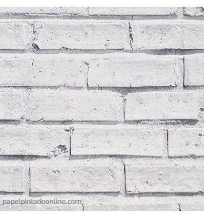 Papel pintado imitacin ladrillo blanco estilo industrial 40811 - Papel pintado ladrillo blanco ...