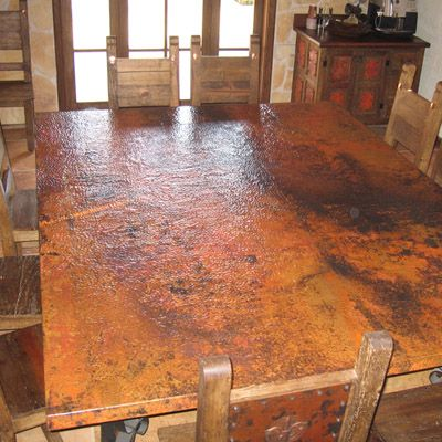 Beautiful Copper Leafing Table Tops | ... Copper Frames Copper Sink Care Custom  Showcase Designs
