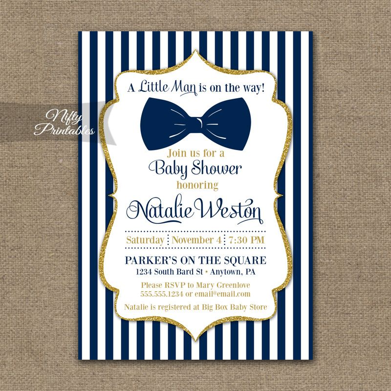 bow tie baby shower invitations - navy blue gold, Baby shower invitations