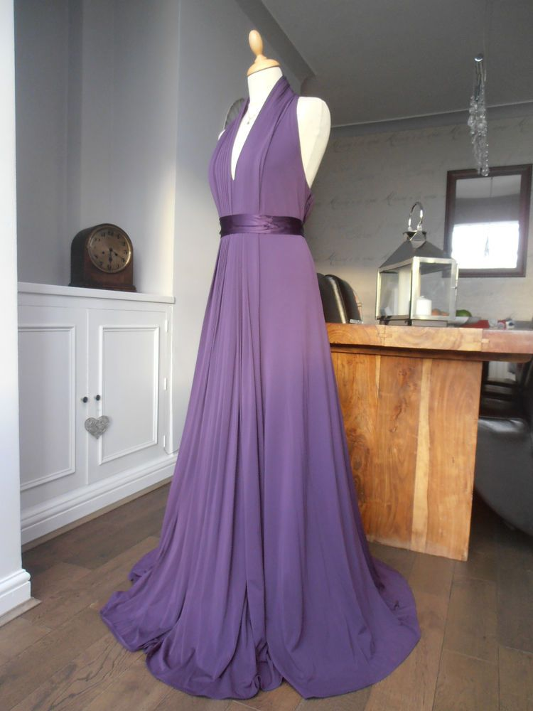 Coast goddess halter neck plum maxi long evening dress size 18 ...