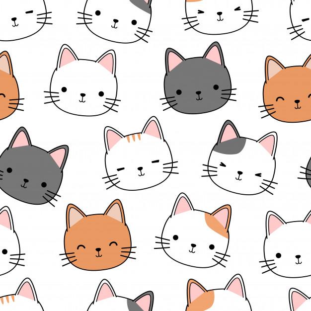 Cute Cat Kitten Head Cartoon Doodle Seamless Pattern Kitten Cartoon Cartoon Wallpaper Cat Doodle