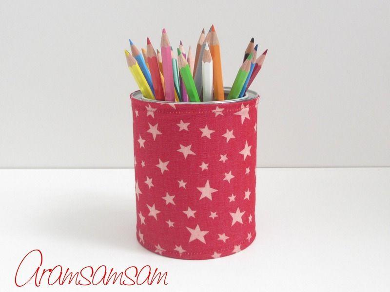 Dose für Stifte, Blumen,... ★Jeans Stars Red von Aramsamsam auf DaWanda.com