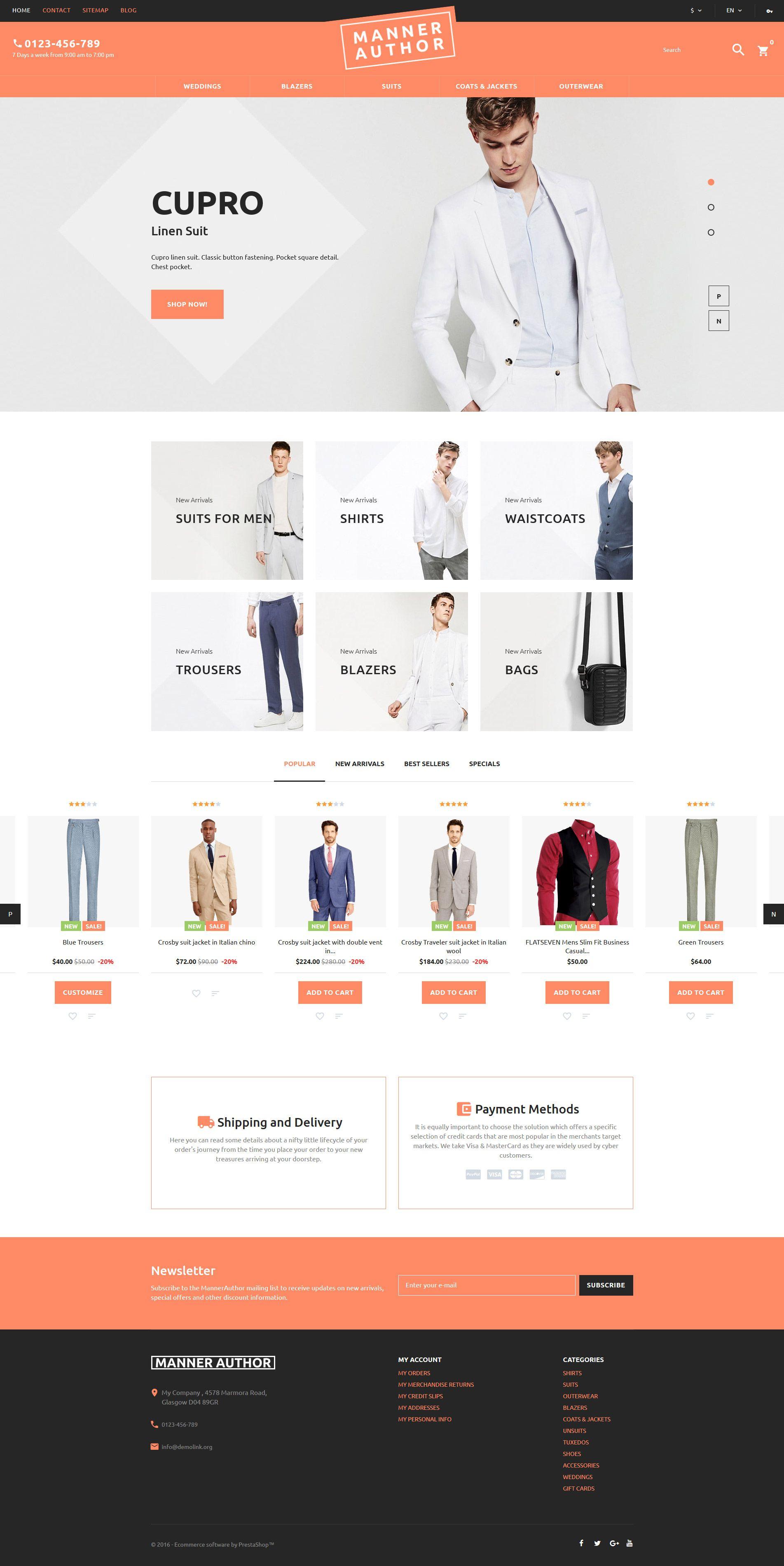 Mannerauthor Mens Clothing Online Prestashop Theme Fashion Web Design Prestashop Themes Website Design Inspiration Layout