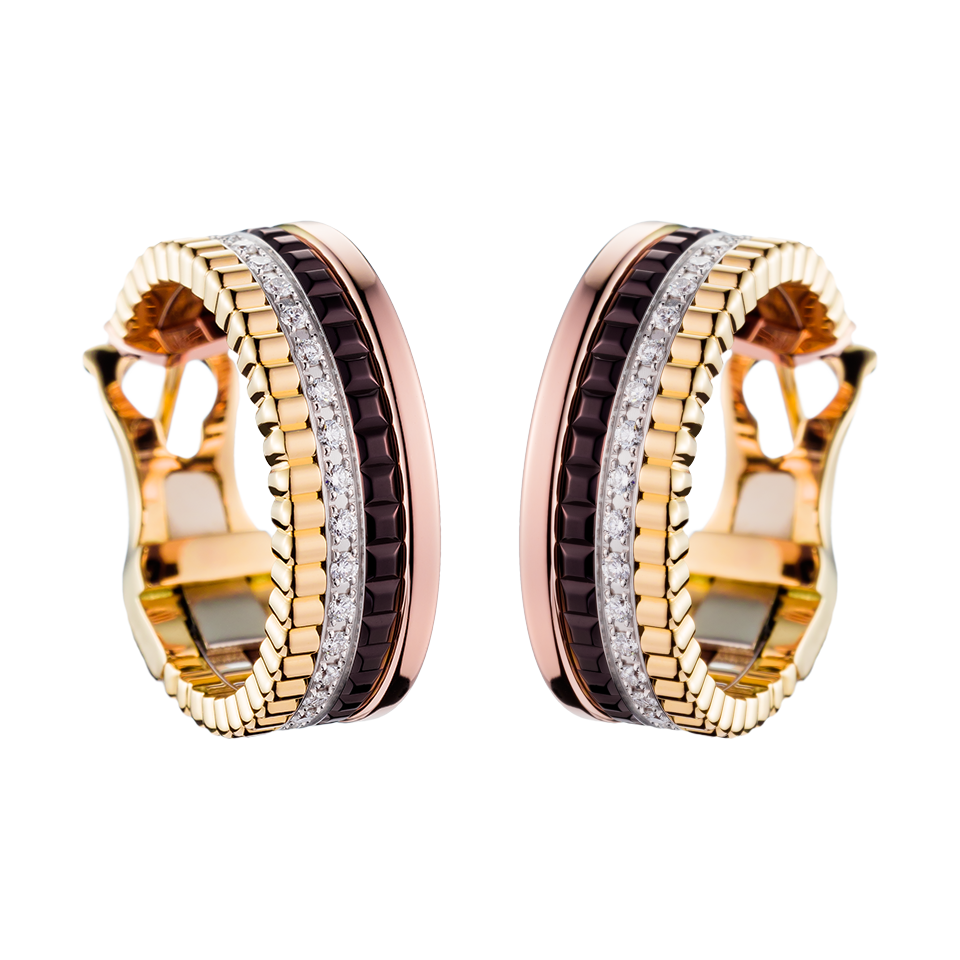 Quatre Classique 18-karat Yellow, Rose And White Gold Diamond Hoop Earrings - one size Boucheron