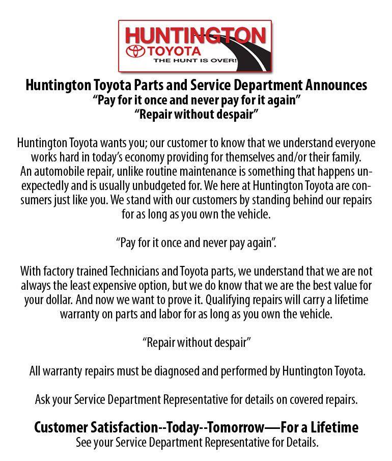 Lifetime Warranty Toyota dealers, Lifetime warranty
