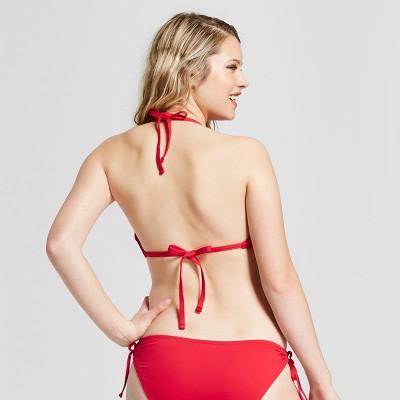 0e85db5e90273 Women s Strappy High Neck Halter Bikini Top - Mossimo Red D DD Cup ...