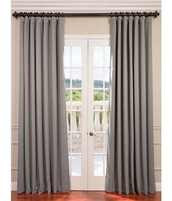 Neutral Grey Extra Wide Blackout Room Darkening Curtain Blackout
