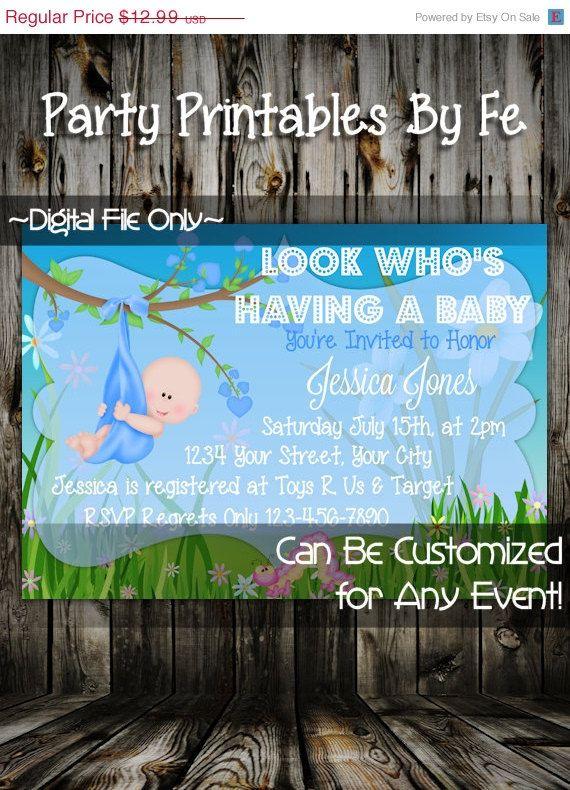 ON SALE Printable Baby Shower Invitation ~ Garden BABY Boy Shower Invitation Light Skin ~ I144
