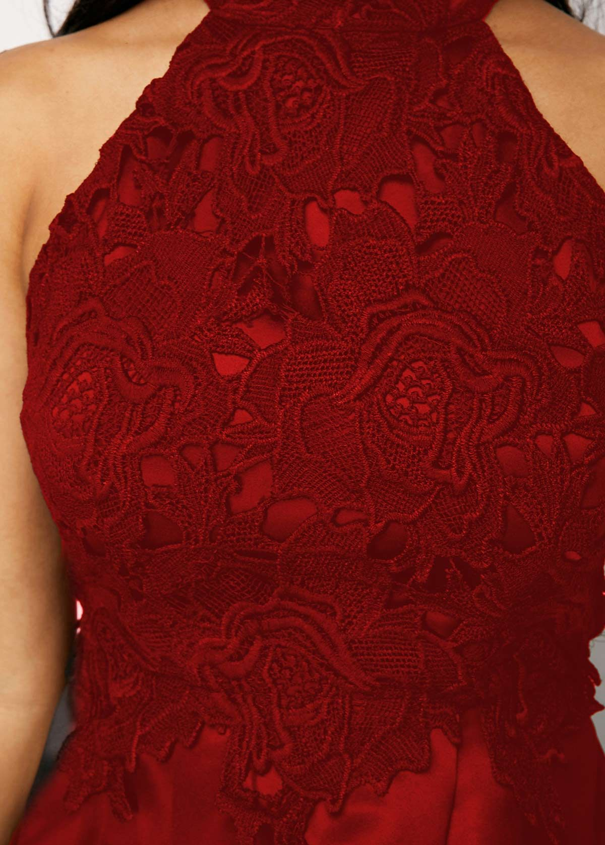 1ca6a65160f30 Wine Red Sleeveless Lace Panel High Low Dress